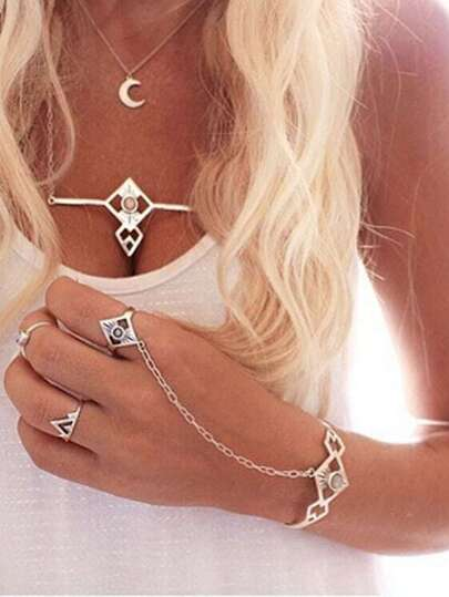 Carved Crystal Set-In Hand Chain