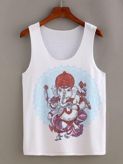 Indian Elephant God Print Tank Top