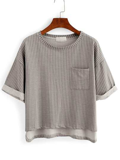 Vertical Striped High-Low Pocket T-shirt - Grey