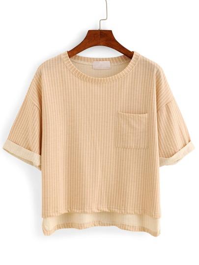 Vertical Striped High-Low Pocket T-shirt - Khaki