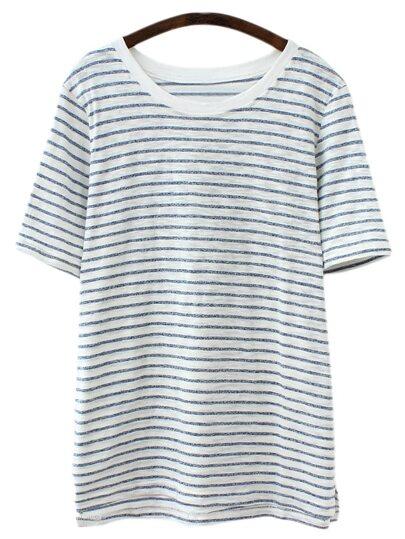 Blue White Short Sleeve Stripe Casual T-shirt
