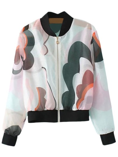 Multicolor Zipper Front Print Organza Sunscreen Jacket