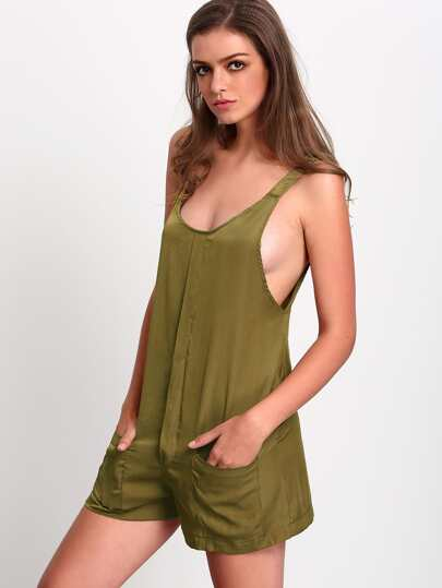 Army Green Sleeveless Pockets Jumpsuit