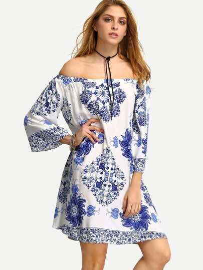 Multicolor Off The Shoulder Print Shift Dress