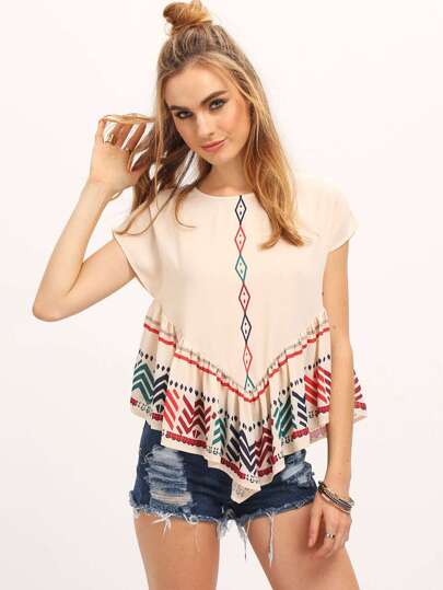 Multicolor Short Sleeve Print Ruffle Blouse