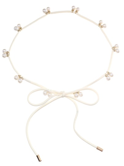 White Pearl Attached Waist Chain