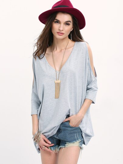 Grey Hollow Three Quarter V Neck T-shirt
