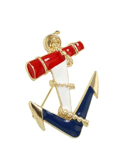 Colorful Enamel Anchor Shape Brooch