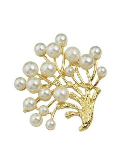 Pearl Tree Shape Brooch