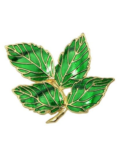 Green Enamel Leaf Shape Brooch