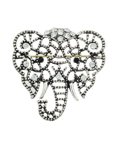 """Оригинальная брошь с камнями """" серебристый слонElephant """""""
