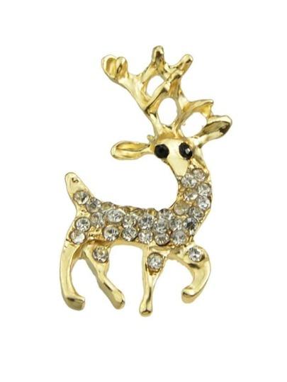 Rhinestone Small Deer Brooch