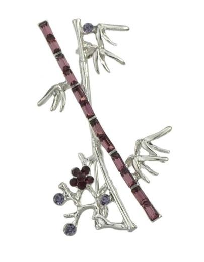 Silver Branch Shape Long Brooch