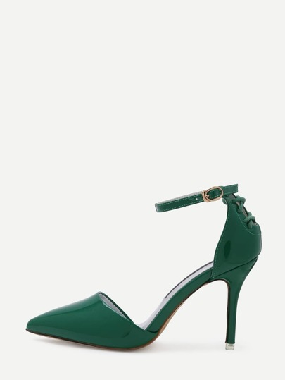 Green Pointed Out Ankle Strap Pumps