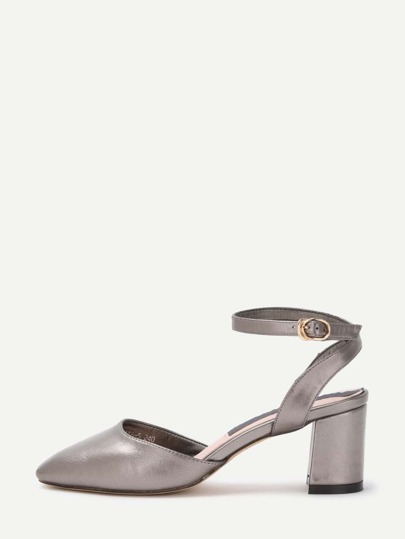 Pointed Out Ankle Strap Chunky Pumps