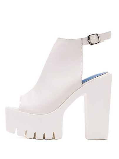 White Lug Sole Chunky Mule Pumps