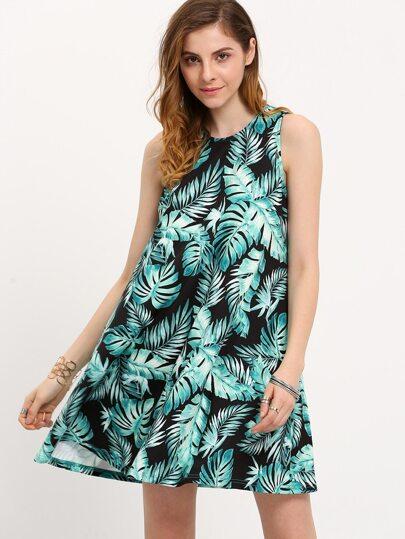 Green Print Sleeveless Shift Dress