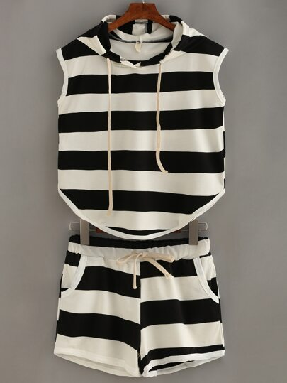 Striped Hooded Tank Top With Shorts