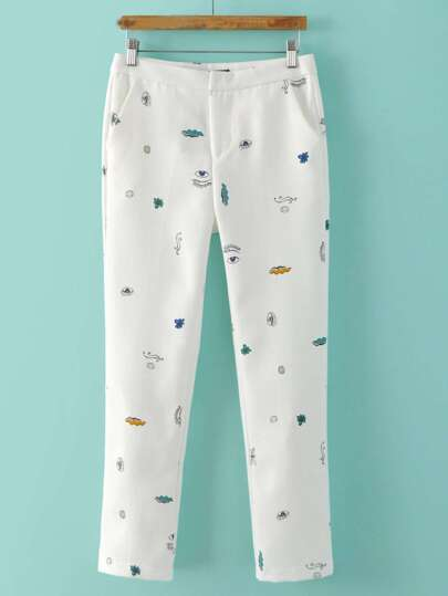 White Pockets Skinny Print Pants