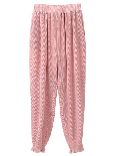 Pink Pockets Elastic Waist Pleated Pants