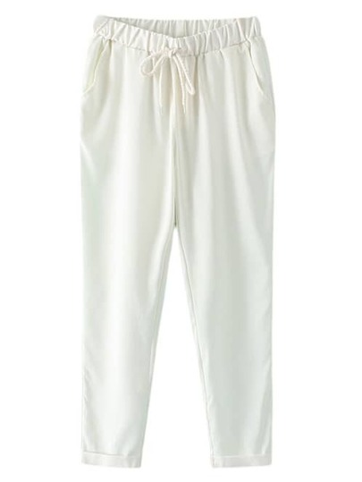 White Pockets Elastic Tie-Waist Linen Pants