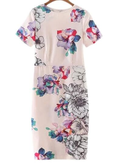 Multicolor Short Sleeve Split Back Floral Print Dress