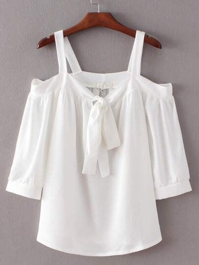 White Tie-neck Bow Open Shoulder Blouse