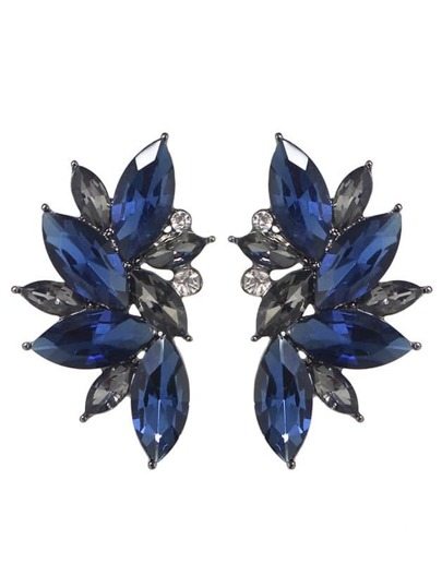 Blue Rhinestone Flower Shape Stud Earrings