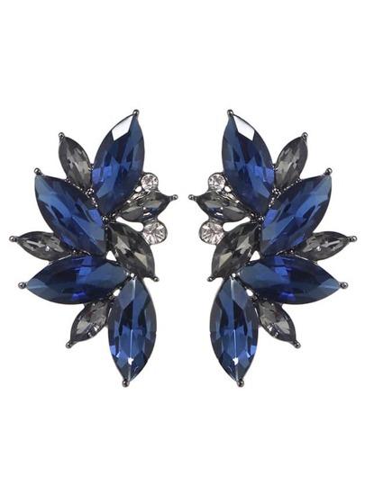 Orecchini di fiori con strass - blu