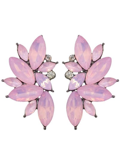 Pink Rhinestone Flower Shape Stud Earrings