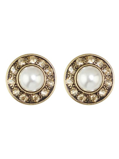 Gold Plated Pearl Round Stud Earrings