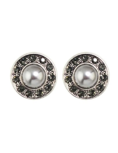 Silver Plated Pearl Round Stud Earrings