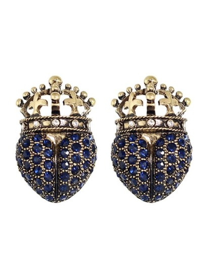 Rhinestone Crown Shape Stud Earrings