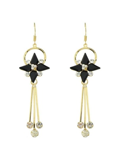 Black Rhinestone Long Earrings