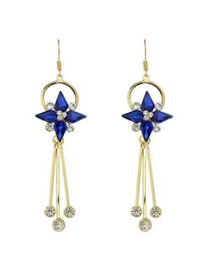 Blue Rhinestone Long Earrings