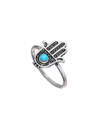 Turquoise Inlay Hamsa hand Ring