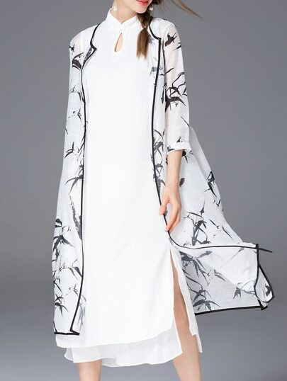 White Ink Print Two-Piece Dress