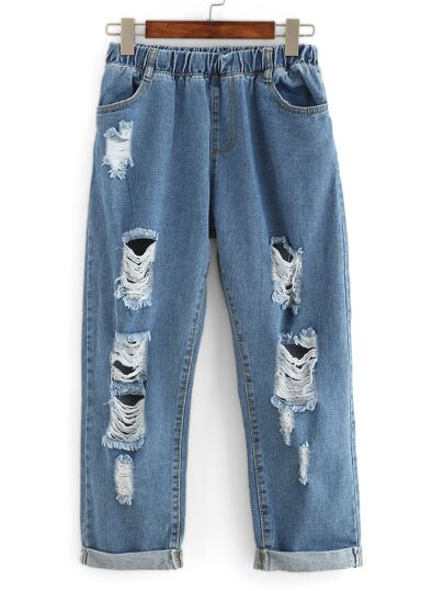 Distressed Rolled Hem Boyfriend Ankle Jeans
