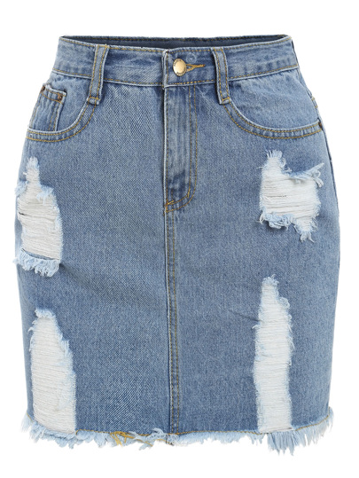 Frayed Denim Pencil Skirt