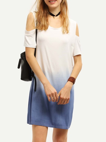 Cutout Shoulder Blue Ombre Shift Dress