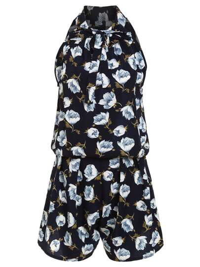 Flower Print Halter Neck Top With Shorts
