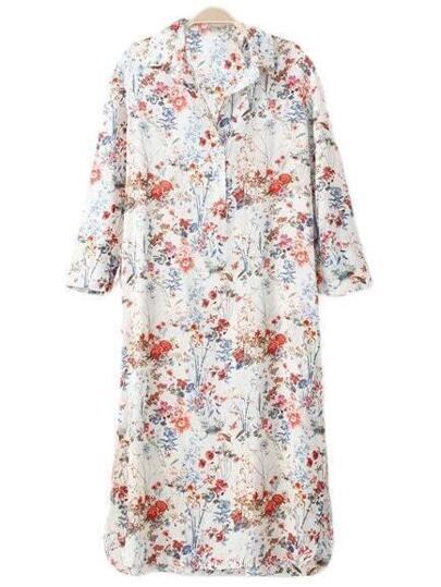 Multicolor Split Side Floral Print Shirt Midi Dress