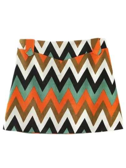 Orange Zipper Side Wave Printing Skirt