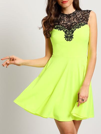 Green Sleeveless Patchwork Hollow Back Dress