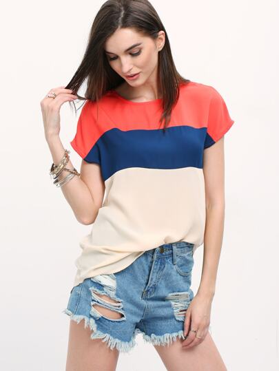Multicolor Cap Sleeve Chiffon Blouse