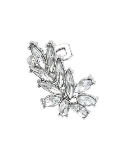Rhinestone Leaf Ear Cuff - Silver