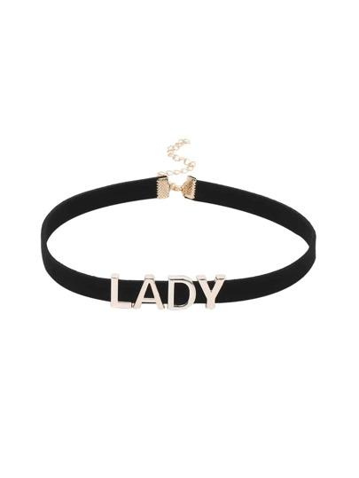 Lady Letter Black Velvet Choker