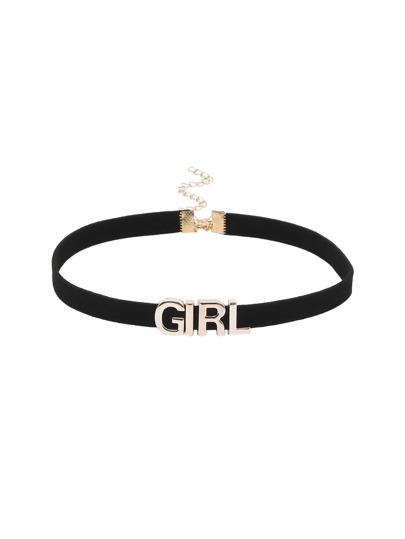 Girl Letter Black Velvet Choker