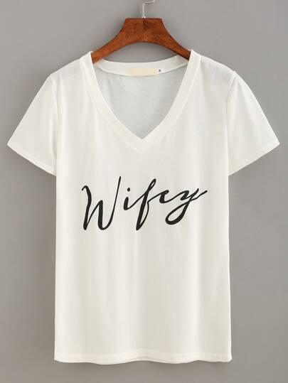 V-Neck Letter Print T-shirt