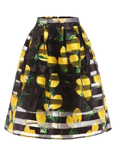 Lemon Print Box Pleated Midi Skirt